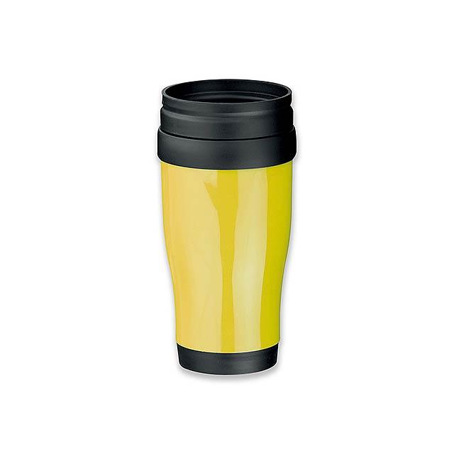 MARIO - plastový termohrnek s dvojitou stěnou, 400 ml - žlutá