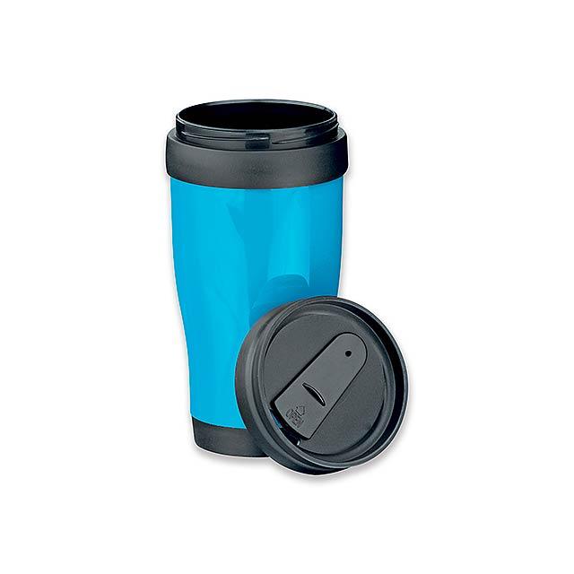 MARIO - plastový termohrnek s dvojitou stěnou, 400 ml - modrá