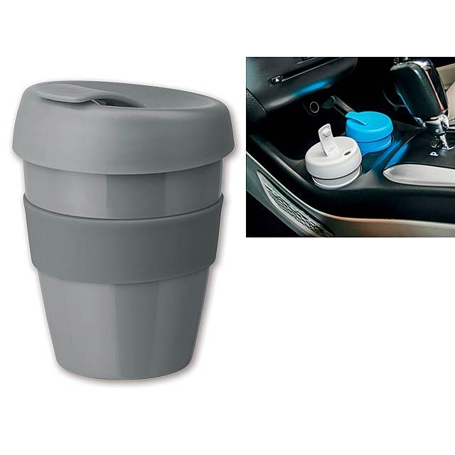 TUMBLER - Plastový hrnek s nepropustným víčkem a silikonovým gripem o objemu 350 ml.     - šedá