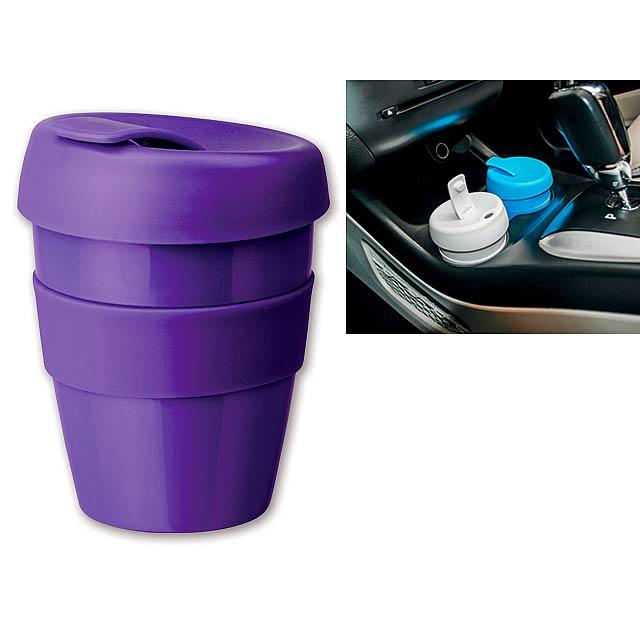 TUMBLER - Plastový hrnek s nepropustným víčkem a silikonovým gripem o objemu 350 ml.     - fialová