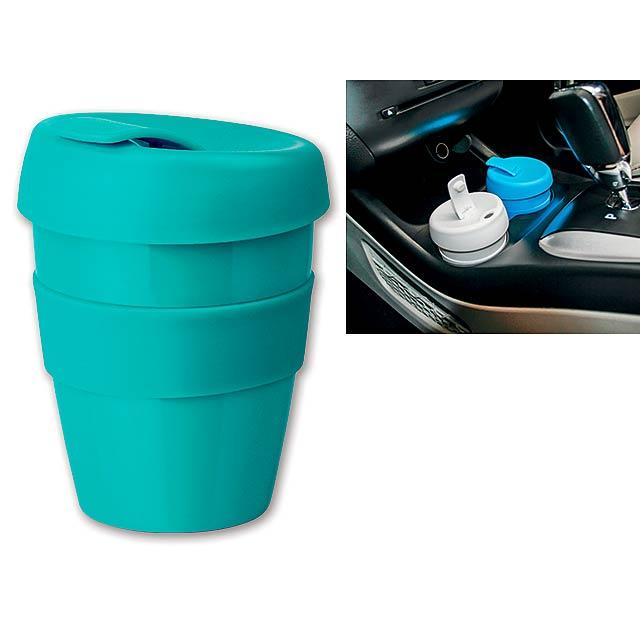 TUMBLER - Plastový hrnek s nepropustným víčkem a silikonovým gripem o objemu 350 ml.     - modrá
