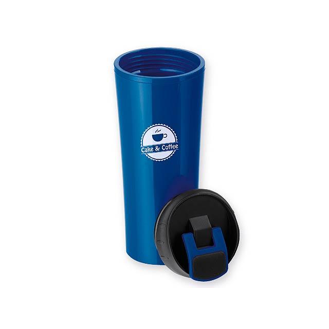 ANDRE - plastový termohrnek s dvojitou stěnou, 450 ml - modrá