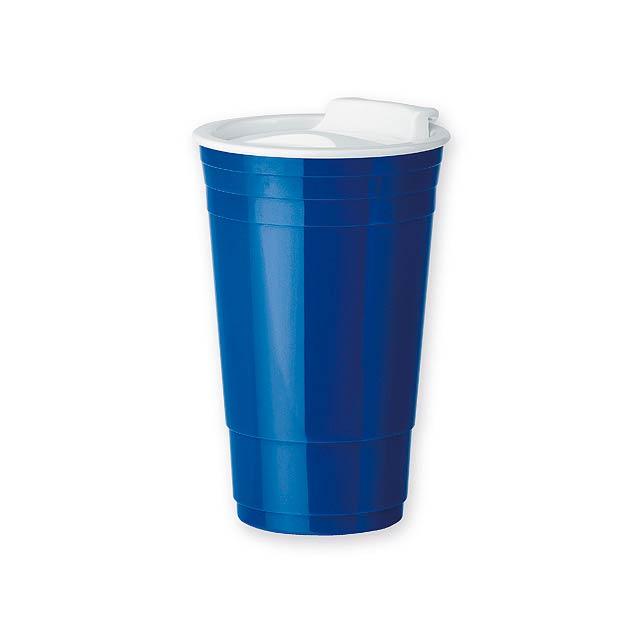 GOBLET plastový termohrnek s dvojitou stěnou, 500 ml, Modrá - modrá