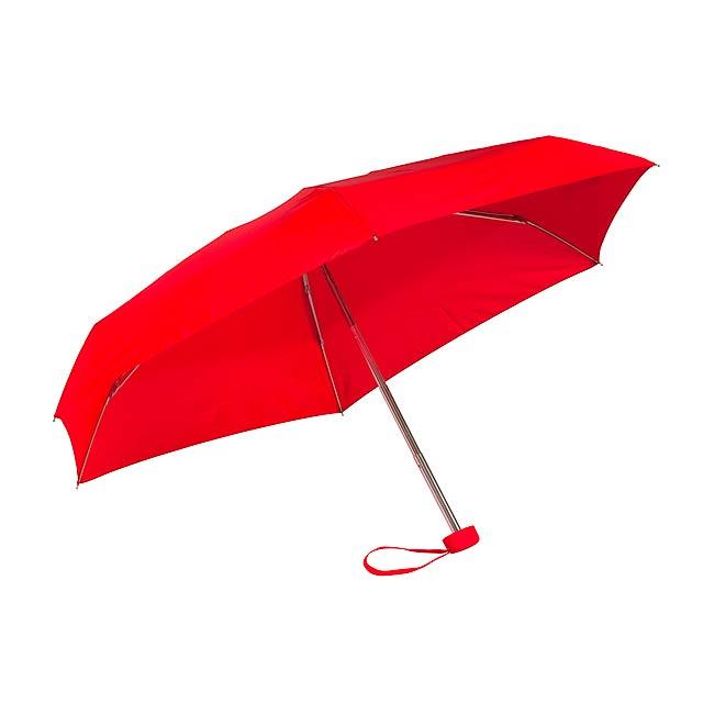Hliníkový mini skládací deštník POCKET - červená