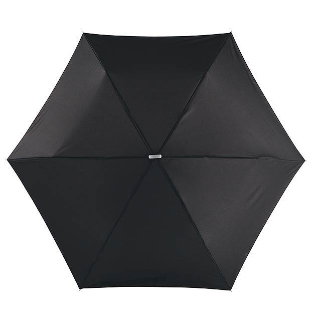 Super tenký mini skládací deštník FLAT - černá