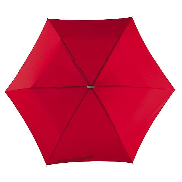 Super tenký mini skládací deštník FLAT - červená