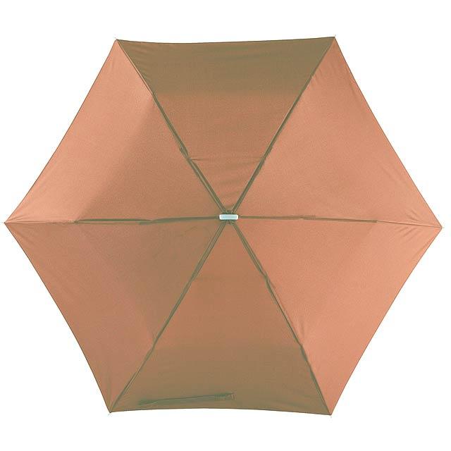 Super tenký mini skládací deštník FLAT - hnědá
