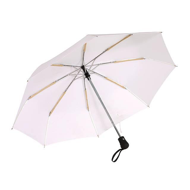 Automatický open/close, větrudodolný skládací deštník BORA - bílá