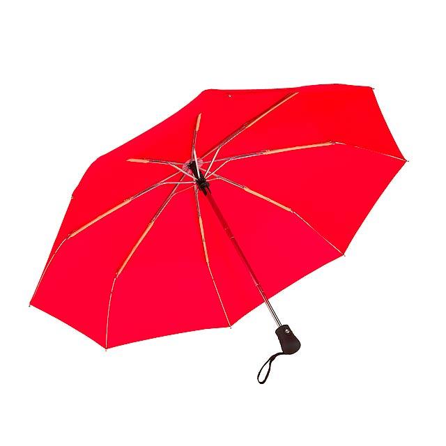 Automatický open/close, větrudodolný skládací deštník BORA - červená