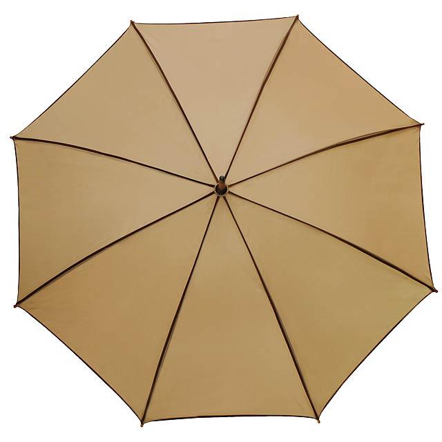 Automatický dřevěný holový deštník  WALTZ - béžová