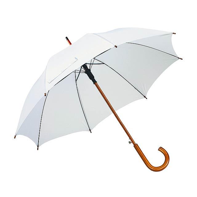 Automatický dřevěnný deštník TANGO - bílá