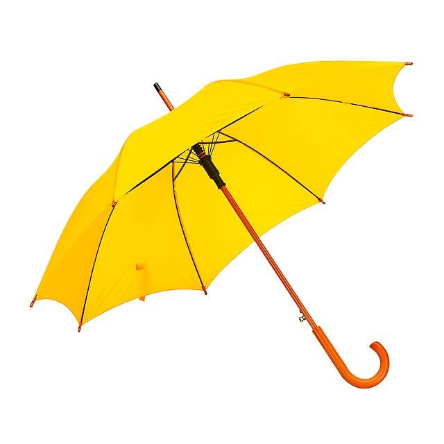Automatický dřevěný holový deštník  TANGO - žlutá