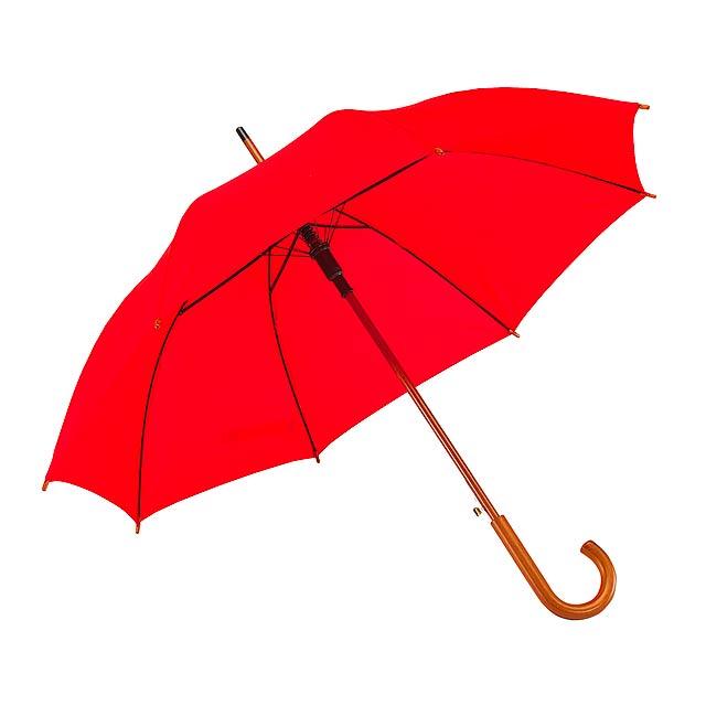 Automatický dřevěný holový deštník  TANGO - červená