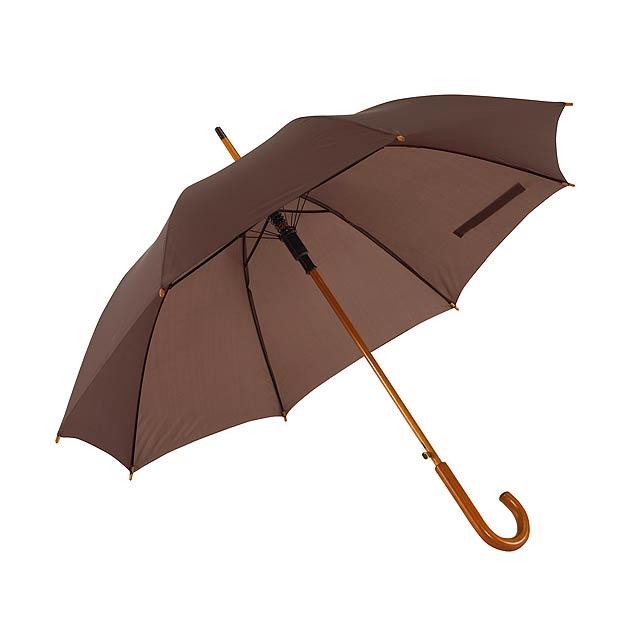 Automatický dřevěný holový deštník  TANGO - hnědá