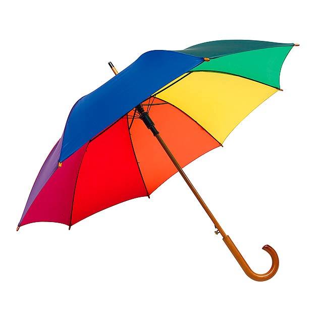 Automatický dřevěný holový deštník  TANGO - multicolor