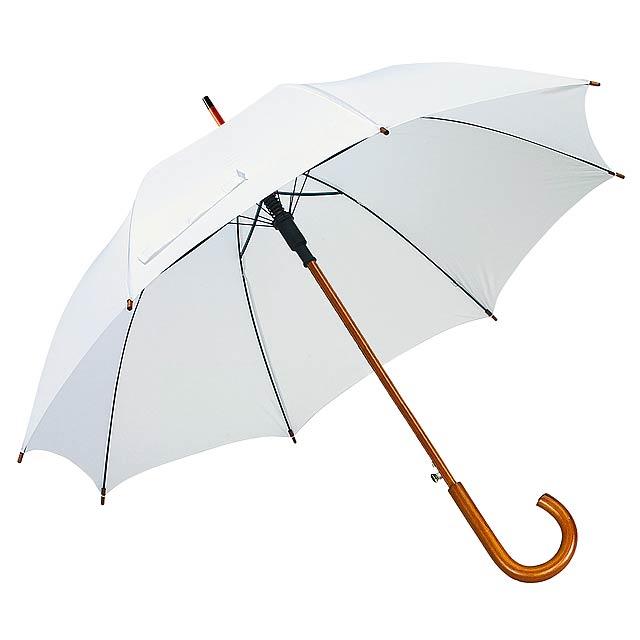 Automatický dřevěný holový deštník BOOGIE - bílá