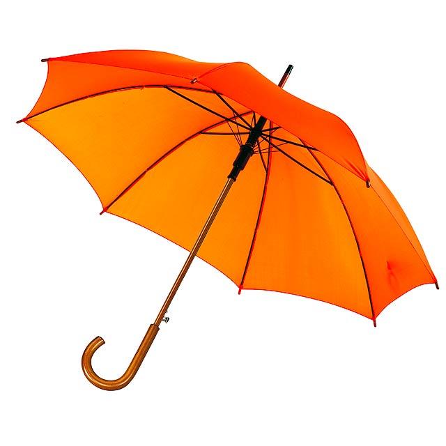 Automatický dřevěný holový deštník BOOGIE - oranžová