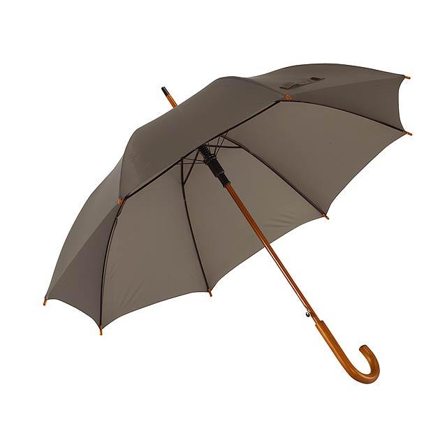 Automatický dřevěný holový deštník BOOGIE - šedá
