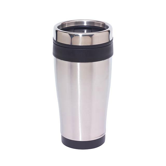 Dvoustěnný termohrnek LUNGO - stříbrná
