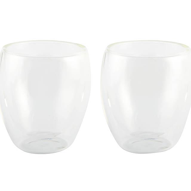Sada skleniček DRINK LINE, dvojitá stěna: sada 2 - transparentní
