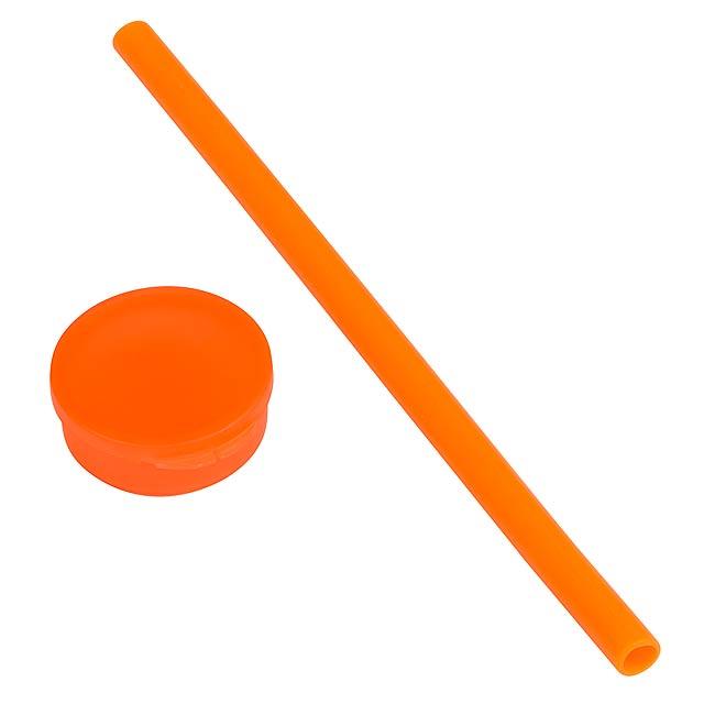 Silikonová slámka – brčko PRACTICALLY - oranžová