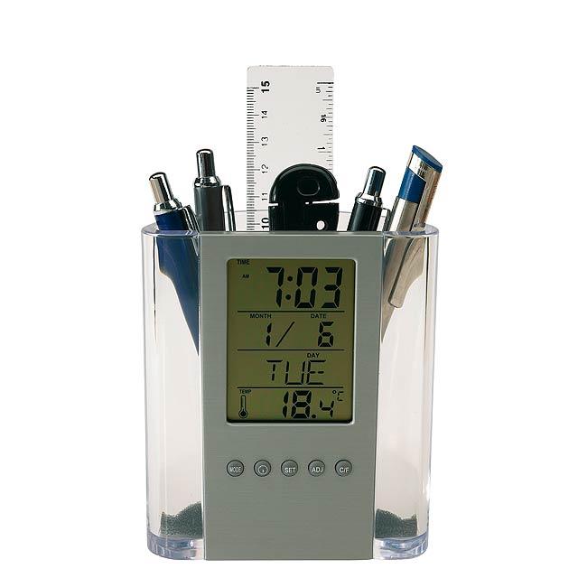 LCD budík BUTLER - stříbrná