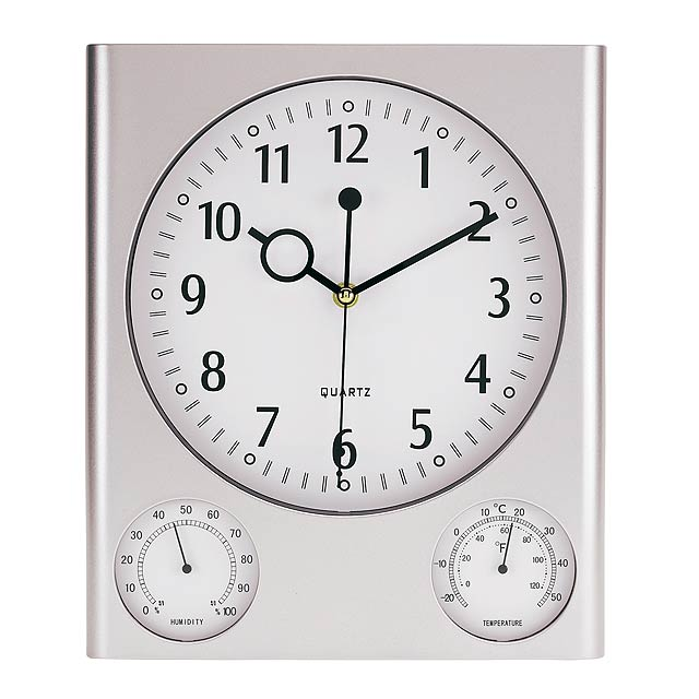 Rectangular wall clock SATURN - silver