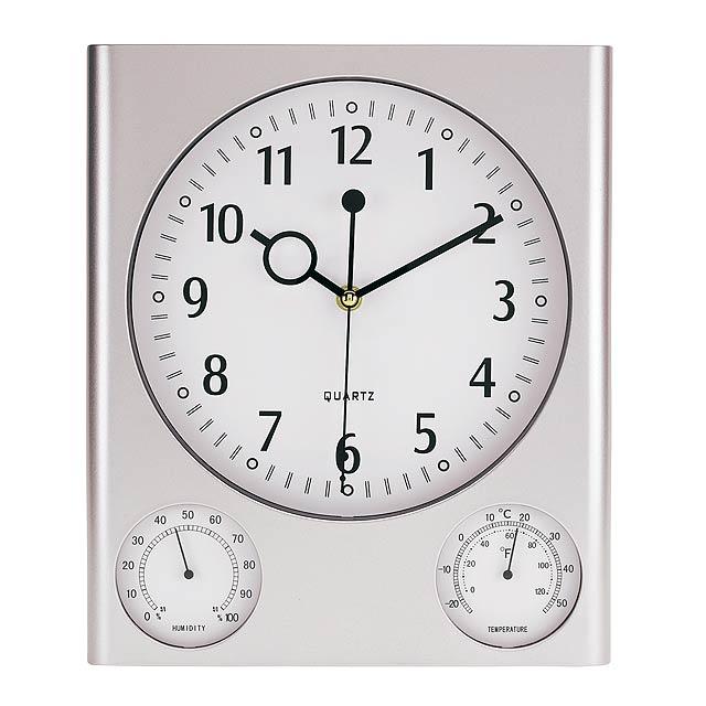 Obdélníkové nástěnné hodiny SATURN - strieborná
