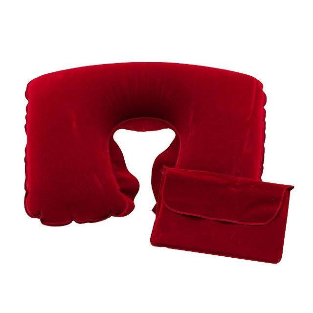 Nafukovací cestovní polštář COMFORTABLE - červená
