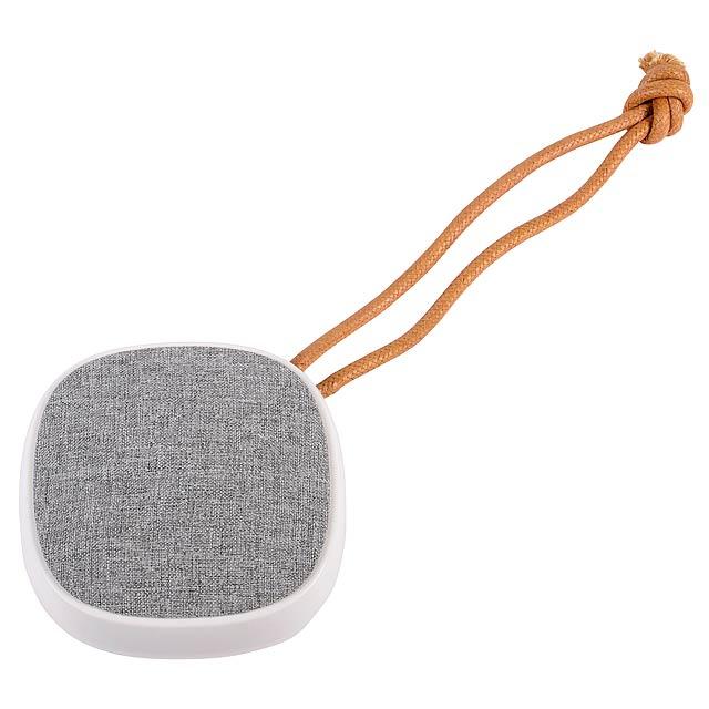 Reproduktor Bluetooth STRAP: Hudební výkon: 3 watty, s verzí Bluetooth 4.2, pro párování s mobilním telefonem, přehrávačem MP3 MP3, tabletem atd., S funkcí handsfree, max. Dosah: cca 10 m, výkonná baterie, kapacita: 1200 mAh, nabíjecí kabel USB s konektorem microUSB (délka: přibližně 65 cm) vč., Doba provozu: přibližně 2–3 hodiny, doba nabíjení: přibližně 2 hodiny , Ovládací tlačítka na zadní straně, hnědá šňůra k zavěšení (délka: přibližně 17 cm), včetně návodu k použití - šedá - foto