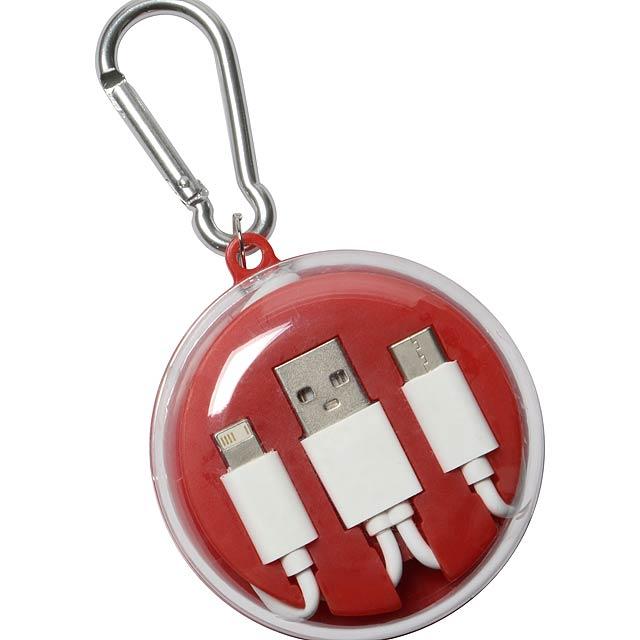 Sluchátka s univerzálním nabíjecím kabelem LISTEN & CHARGE - červená