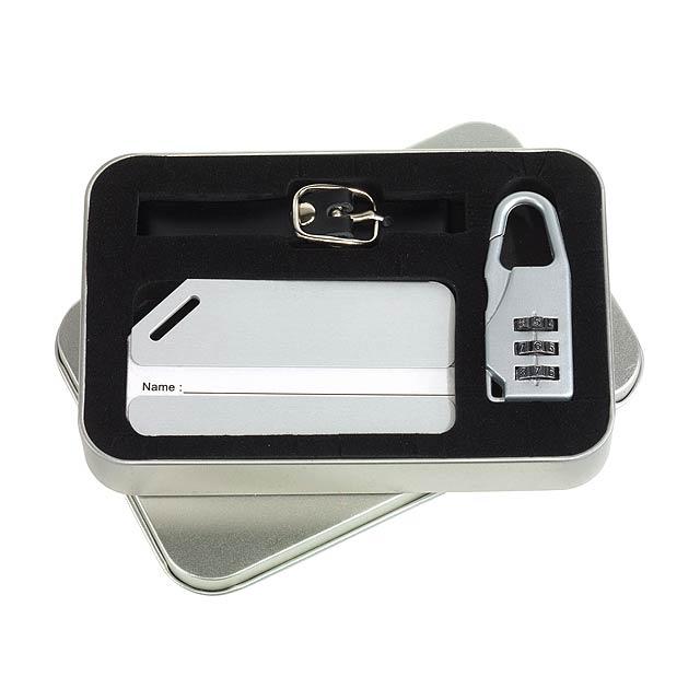 Visačka na zavazadlo FAR AWAY - stříbrná