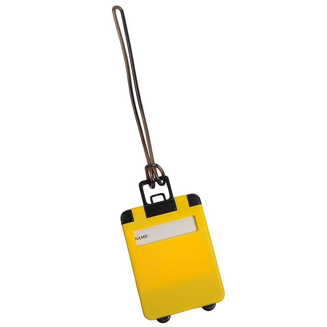 Luggage tag WANDERLUST - yellow