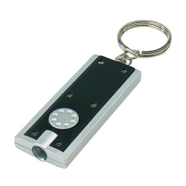 Plochá klíčenka LOOK - stříbrná