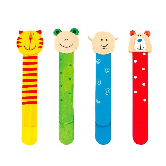 Dřevěné záložky do knihy 4 typy FUNNY ANIMALS - multicolor