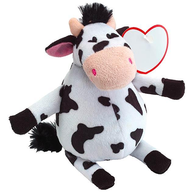 Plyšová kráva EDDA - bílá/černá