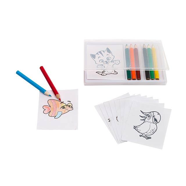 Vybarvovací sada omalovánka a pastelky CRAZY ANIMALS - multicolor