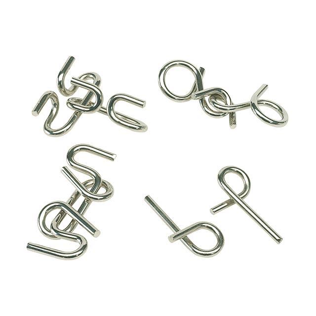 Tricky kovový puzzle CLEVER, čtyřnásobný rozmanitý, cena za kus - stříbrná