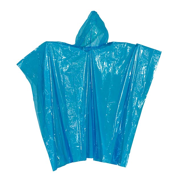 Poncho with hood AUTUMN - blue