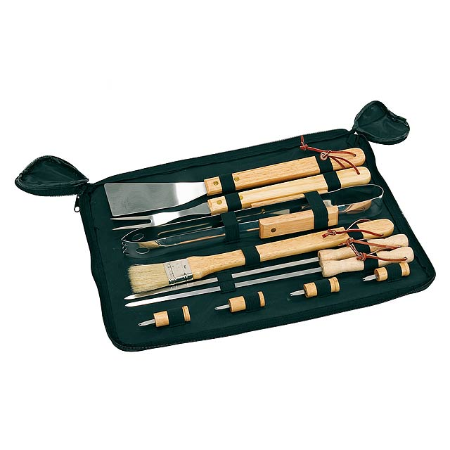 High-quality stainless steel grill cutlery FRIED - wood