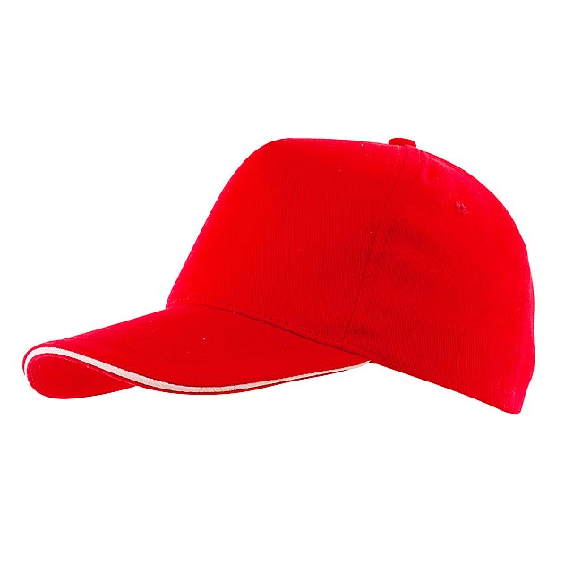 Kšiltovka 5-ti panelová WALK - červená
