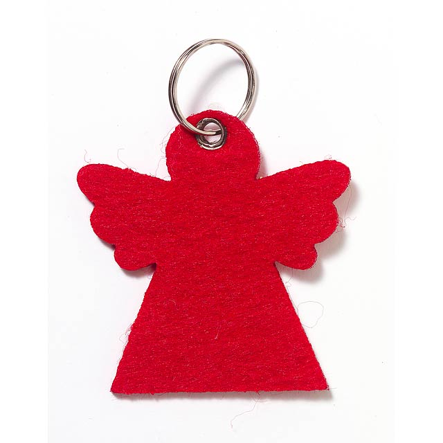 Felt key ring FREDA shaped as an angel - red