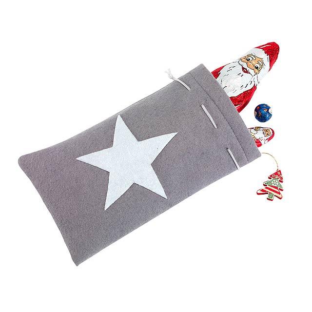 Felt Christmas pouch WHITE SHINE - grey