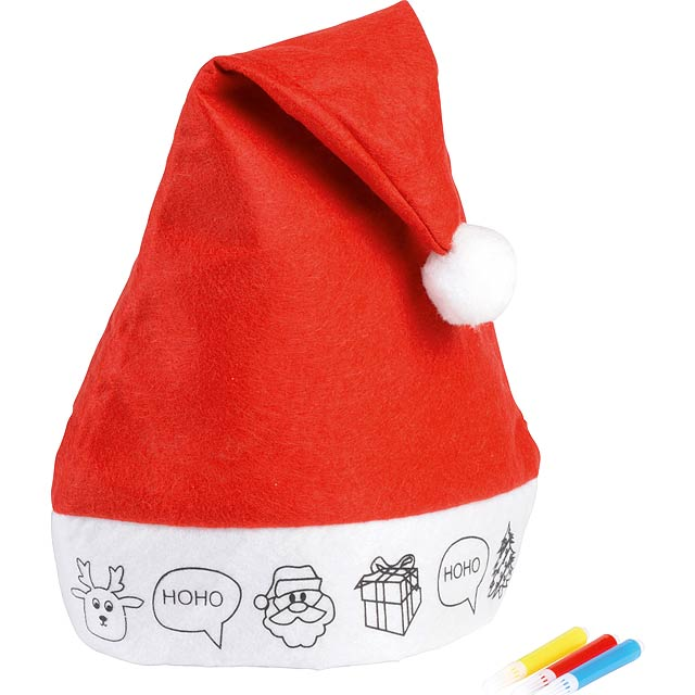 Felt Christmas hat COLOURFUL HAT - white