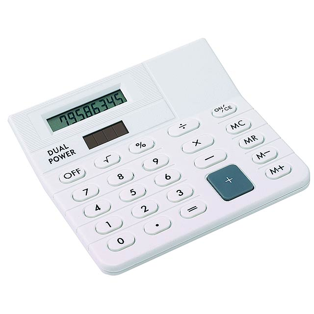 8-digit dual power desktop calculator CORNER - white
