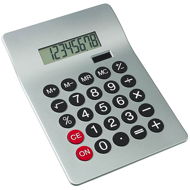 8-digit dual power calculator GLOSSY - silver