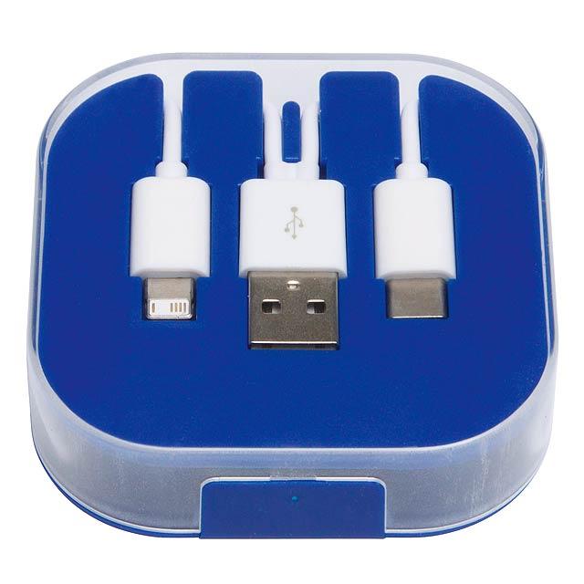 Nabíjecí kabel 3 v 1 RECHARGER - modrá