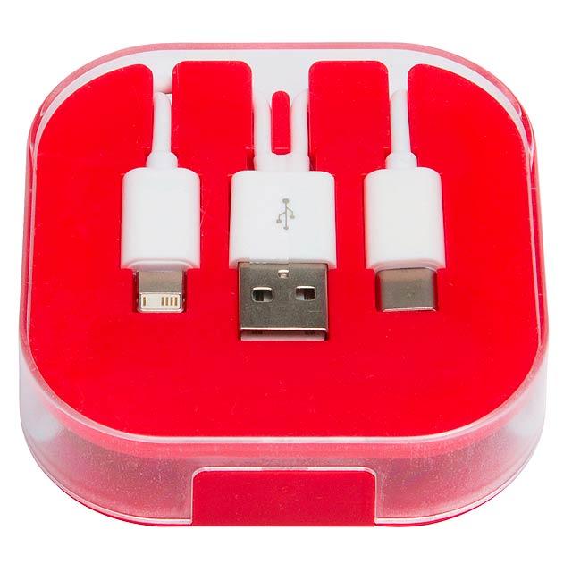 Nabíjecí kabel 3 v 1 RECHARGER - červená