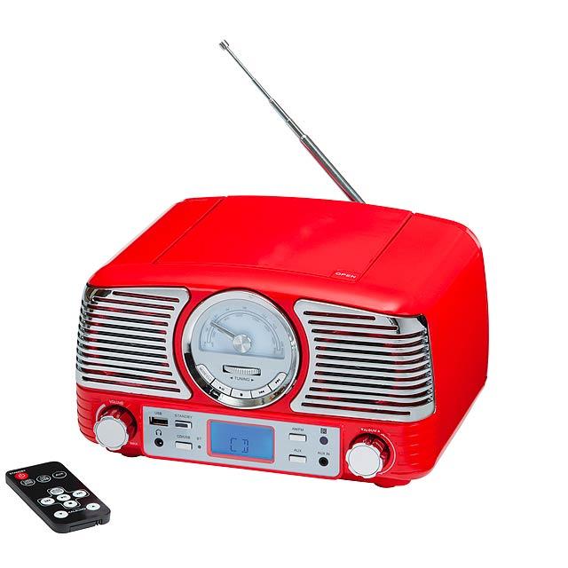 CD a rádio rekordér DINER - červená