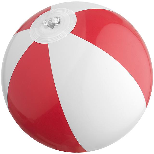 Bicoloured mini beach ball with 21.5 cm segments - red